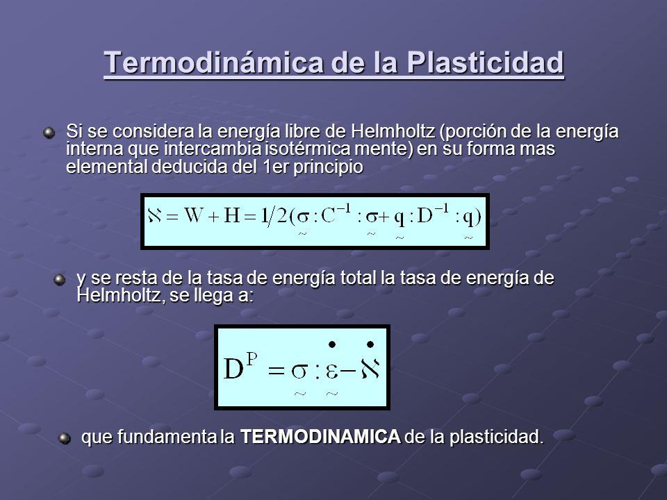 Termodinámica de la Plasticidad Si se considera la energía libre de Helmholtz (porción de la energía interna que intercambia isotérmica mente) en su f