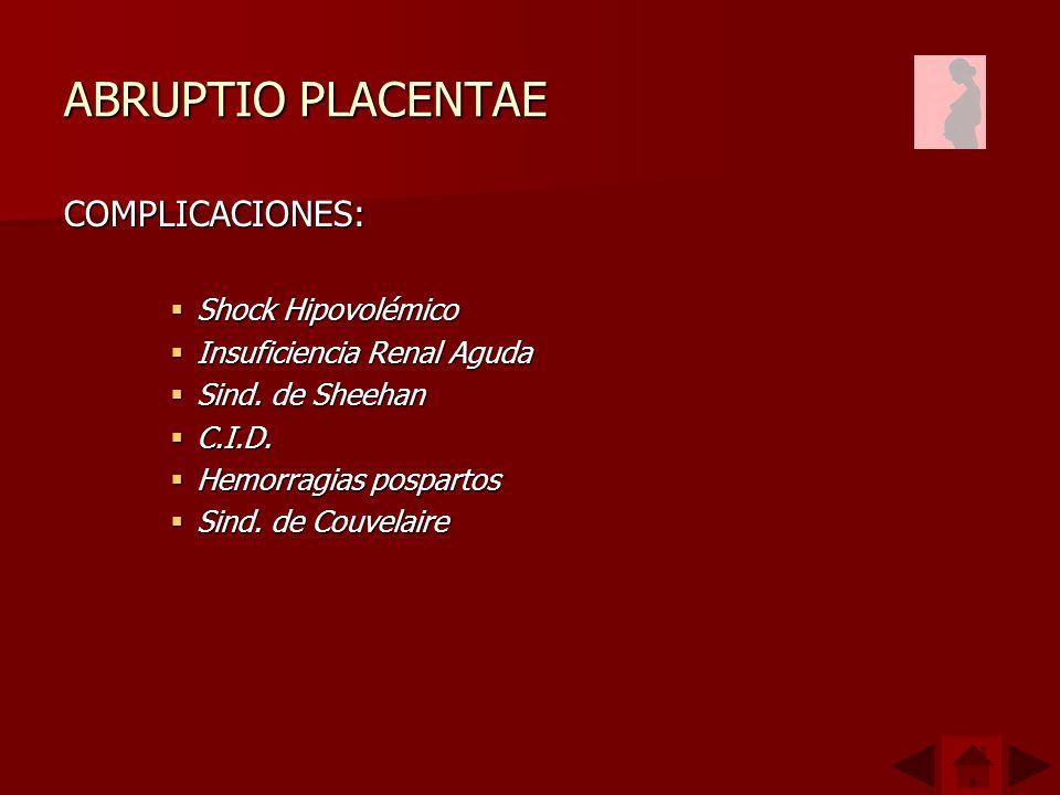 ABRUPTIO PLACENTAE COMPLICACIONES: Shock Hipovolémico Shock Hipovolémico Insuficiencia Renal Aguda Insuficiencia Renal Aguda Sind.