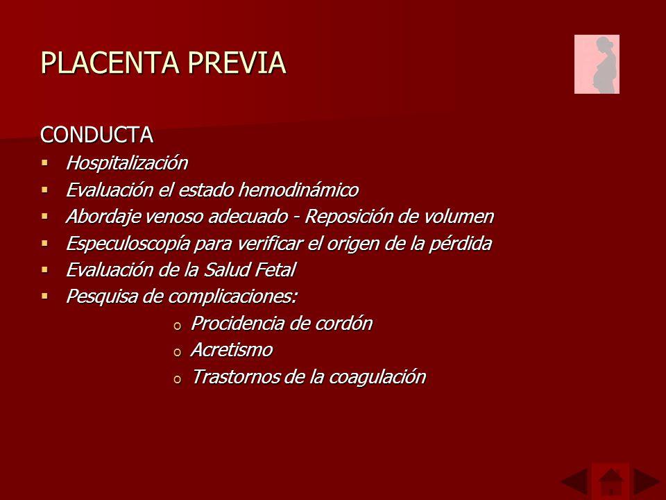 PLACENTA PREVIA CONDUCTA Hospitalización Hospitalización Evaluación el estado hemodinámico Evaluación el estado hemodinámico Abordaje venoso adecuado - Reposición de volumen Abordaje venoso adecuado - Reposición de volumen Especuloscopía para verificar el origen de la pérdida Especuloscopía para verificar el origen de la pérdida Evaluación de la Salud Fetal Evaluación de la Salud Fetal Pesquisa de complicaciones: Pesquisa de complicaciones: o Procidencia de cordón o Acretismo o Trastornos de la coagulación