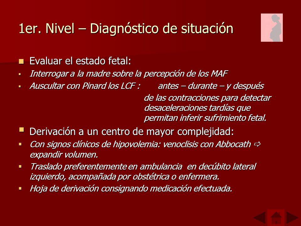 1er. Nivel – Diagnóstico de situación Evaluar el estado fetal: Evaluar el estado fetal: Interrogar a la madre sobre la percepción de los MAF Interroga