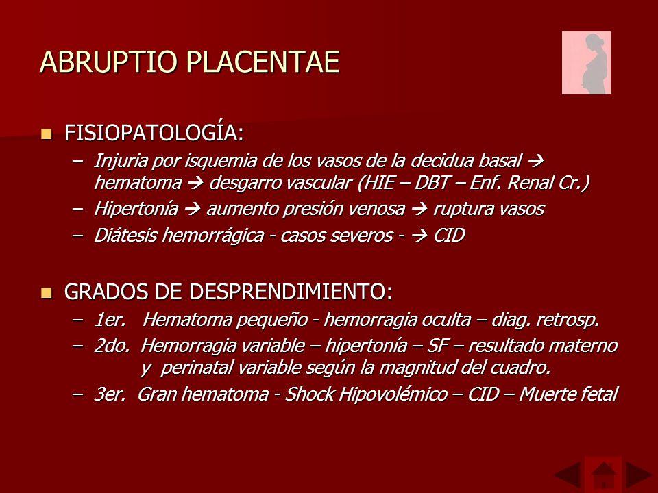 ABRUPTIO PLACENTAE FISIOPATOLOGÍA: FISIOPATOLOGÍA: –Injuria por isquemia de los vasos de la decidua basal hematoma desgarro vascular (HIE – DBT – Enf.