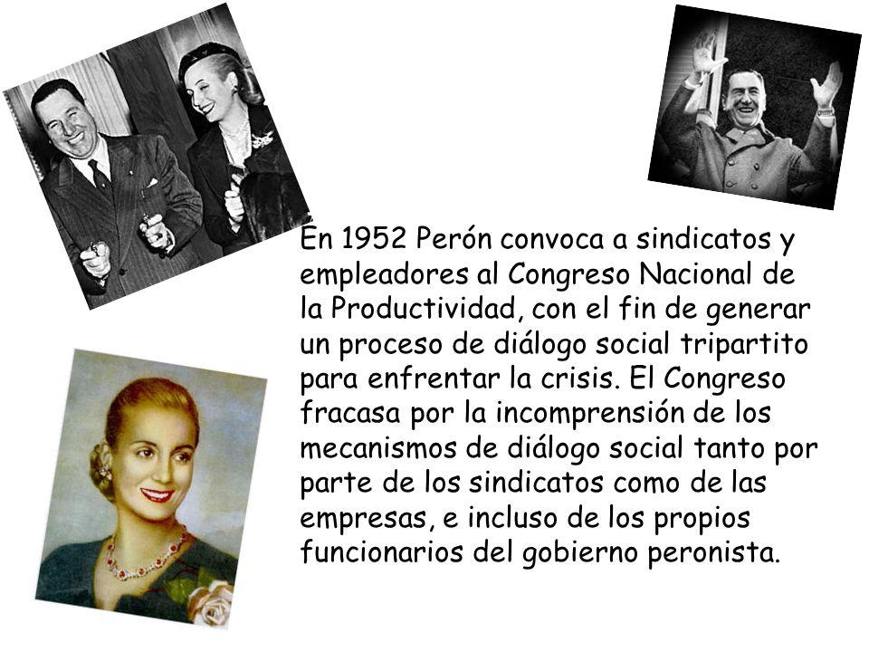 El segundo gobierno peronista se caracterizó por el agotamiento de la política distributiva que caracterizó al primer gobierno.