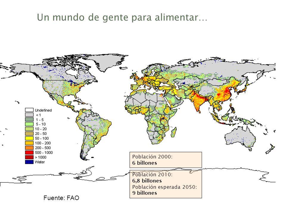 Rationale del negocio Un mundo de gente para alimentar… Fuente: FAO Población 2000: 6 billones Población 2010: 6,8 billones Población esperada 2050: 9