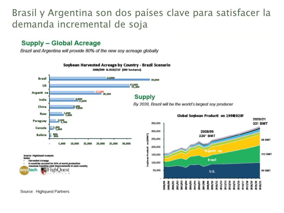 Brasil y Argentina son dos países clave para satisfacer la demanda incremental de soja