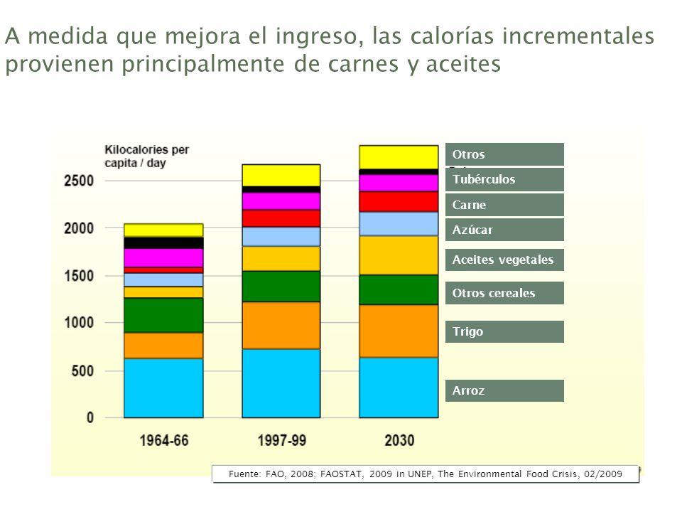A medida que mejora el ingreso, las calorías incrementales provienen principalmente de carnes y aceites Aceites vegetales Azúcar Otros cereales Trigo