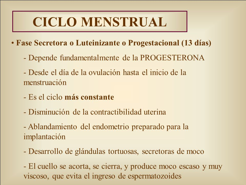 CICLO MENSTRUAL Fase Secretora o Luteinizante o Progestacional (13 días) - Depende fundamentalmente de la PROGESTERONA - Desde el día de la ovulación hasta el inicio de la menstruación - Es el ciclo más constante - Disminución de la contractibilidad uterina - Ablandamiento del endometrio preparado para la implantación - Desarrollo de glándulas tortuosas, secretoras de moco - El cuello se acorta, se cierra, y produce moco escaso y muy viscoso, que evita el ingreso de espermatozoides