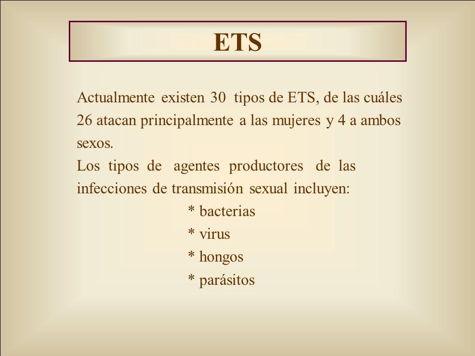 ETS Actualmente existen 30 tipos de ETS, de las cuáles 26 atacan principalmente a las mujeres y 4 a ambos sexos. Los tipos de agentes productores de l