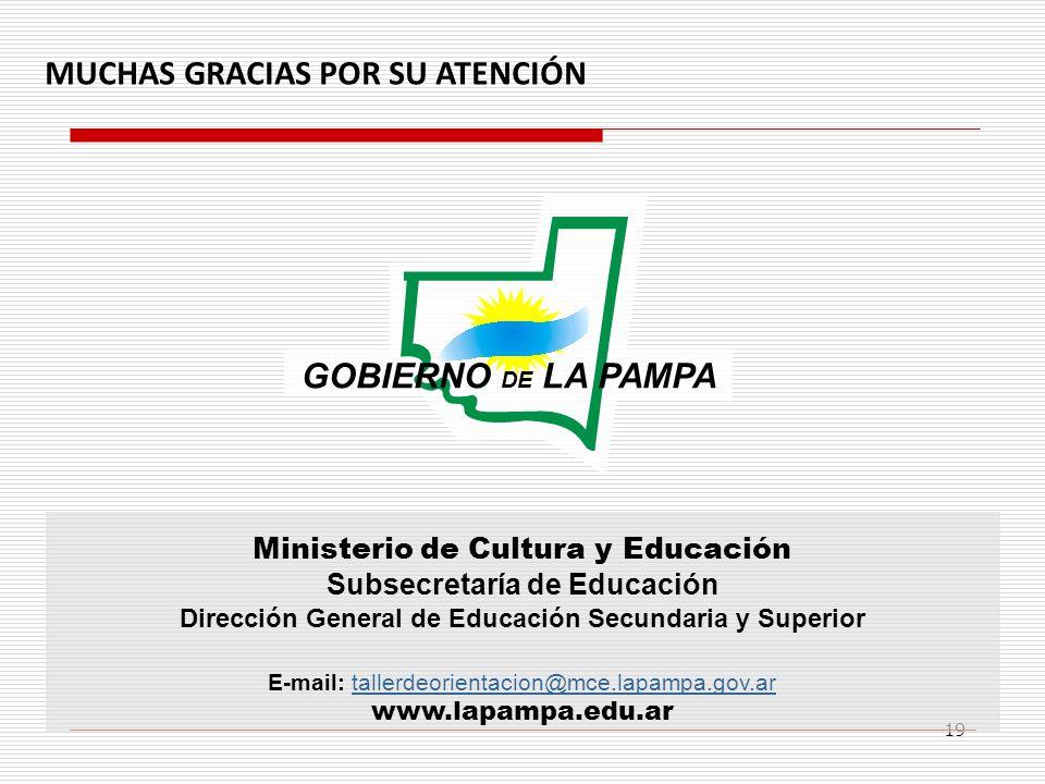 19 Ministerio de Cultura y Educación Subsecretaría de Educación Dirección General de Educación Secundaria y Superior E-mail: tallerdeorientacion@mce.l