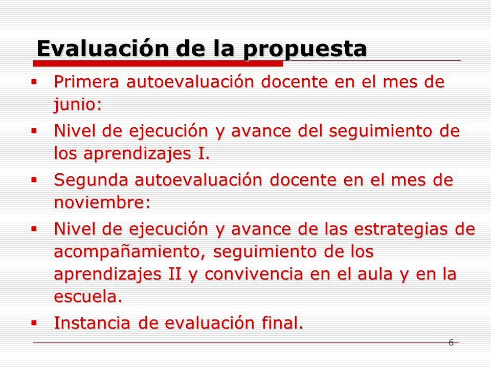 6 Evaluación de la propuesta Primera Primera autoevaluación docente en el mes de junio: Nivel Nivel de ejecución y avance del seguimiento de los apren