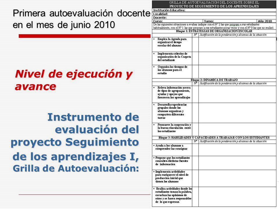 7 Nivel de ejecución y avance Instrumento de evaluación del proyecto Seguimiento de los aprendizajes I, Grilla de Autoevaluación: Primera autoevaluaci