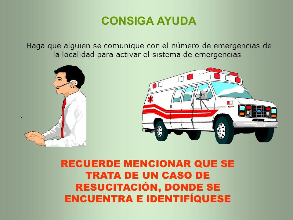 CONSIGA AYUDA Haga que alguien se comunique con el número de emergencias de la localidad para activar el sistema de emergencias RECUERDE MENCIONAR QUE