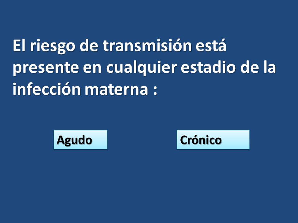 El riesgo de transmisión está presente en cualquier estadio de la infección materna : AgudoAgudoCrónicoCrónico