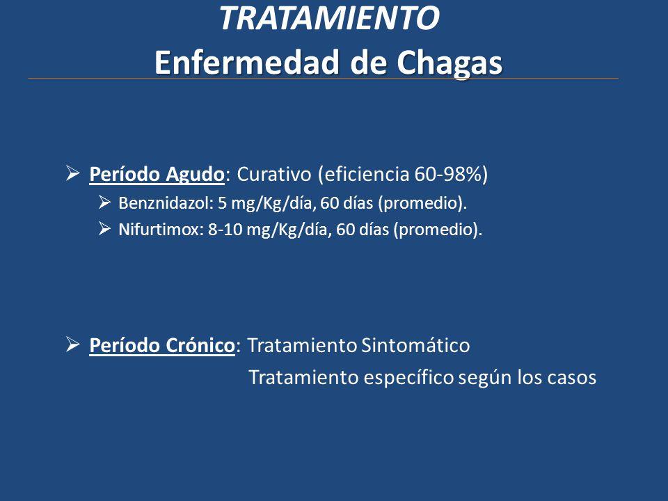 Enfermedad de Chagas TRATAMIENTO Enfermedad de Chagas Período Agudo: Curativo (eficiencia 60-98%) Benznidazol: 5 mg/Kg/día, 60 días (promedio). Nifurt