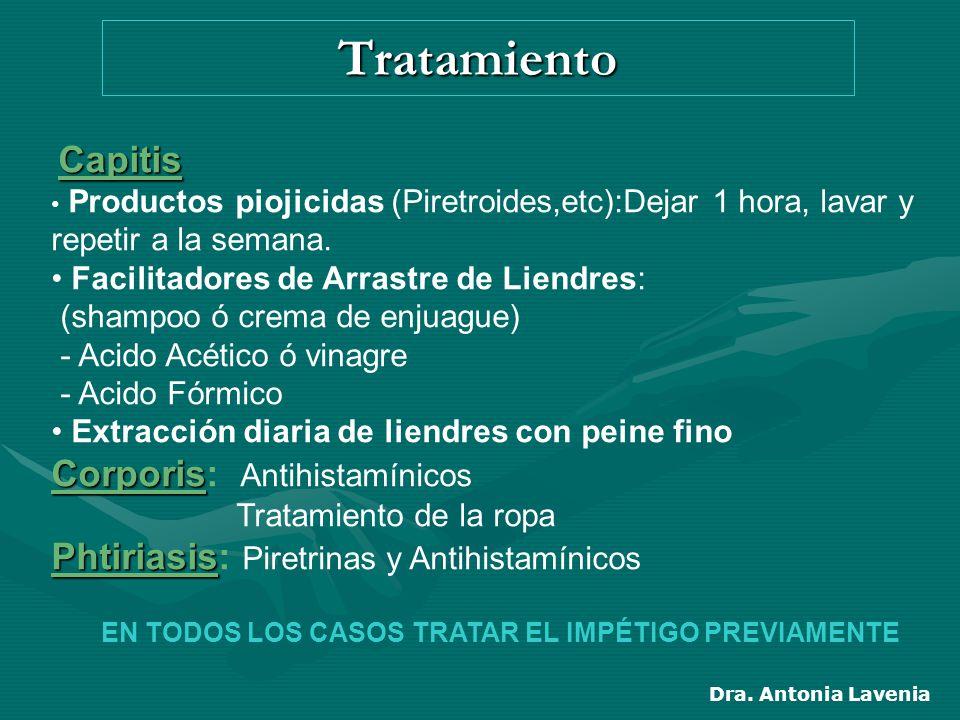Tratamiento Capitis Productos piojicidas (Piretroides,etc):Dejar 1 hora, lavar y repetir a la semana.