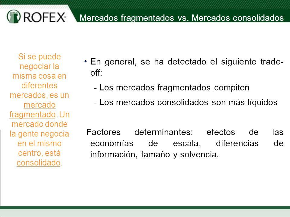 En general, se ha detectado el siguiente trade- off: - Los mercados fragmentados compiten - Los mercados consolidados son más líquidos Factores determinantes: efectos de las economías de escala, diferencias de información, tamaño y solvencia.