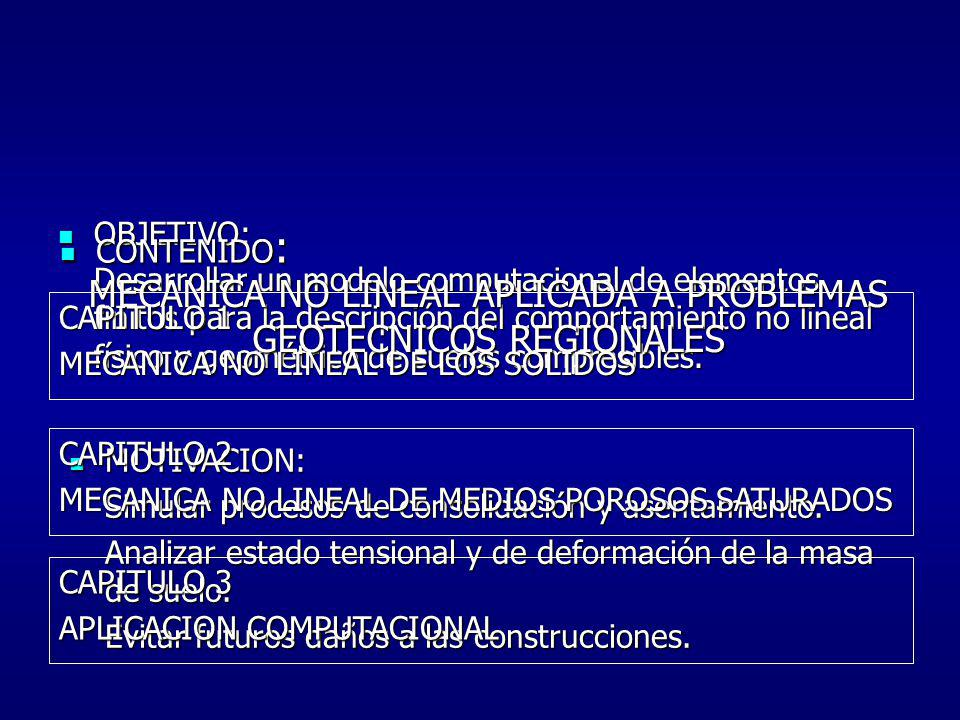 PROBLEMA LINEAL MECANICA NO LINEAL APLICADA A PROBLEMAS GEOTECNICOS REGIONALES RELACION CARGA-DESPLAZ.
