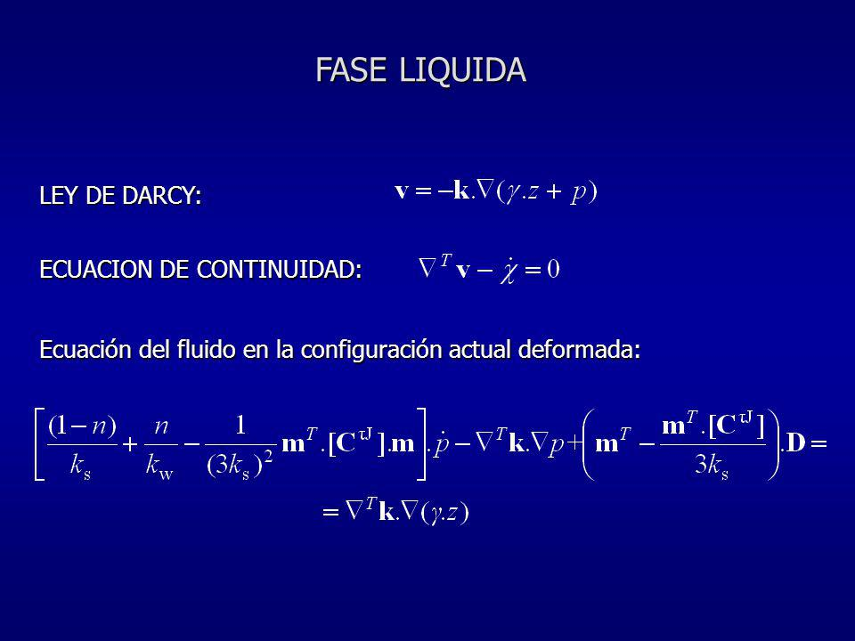 FASE LIQUIDA LEY DE DARCY: ECUACION DE CONTINUIDAD: Ecuación del fluido en la configuración actual deformada: