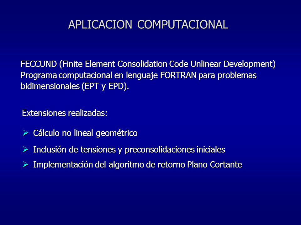 APLICACION COMPUTACIONAL FECCUND (Finite Element Consolidation Code Unlinear Development) Programa computacional en lenguaje FORTRAN para problemas bi