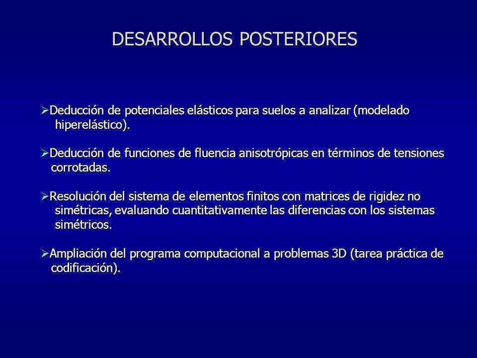 Deducción de potenciales elásticos para suelos a analizar (modelado Deducción de potenciales elásticos para suelos a analizar (modelado hiperelástico)