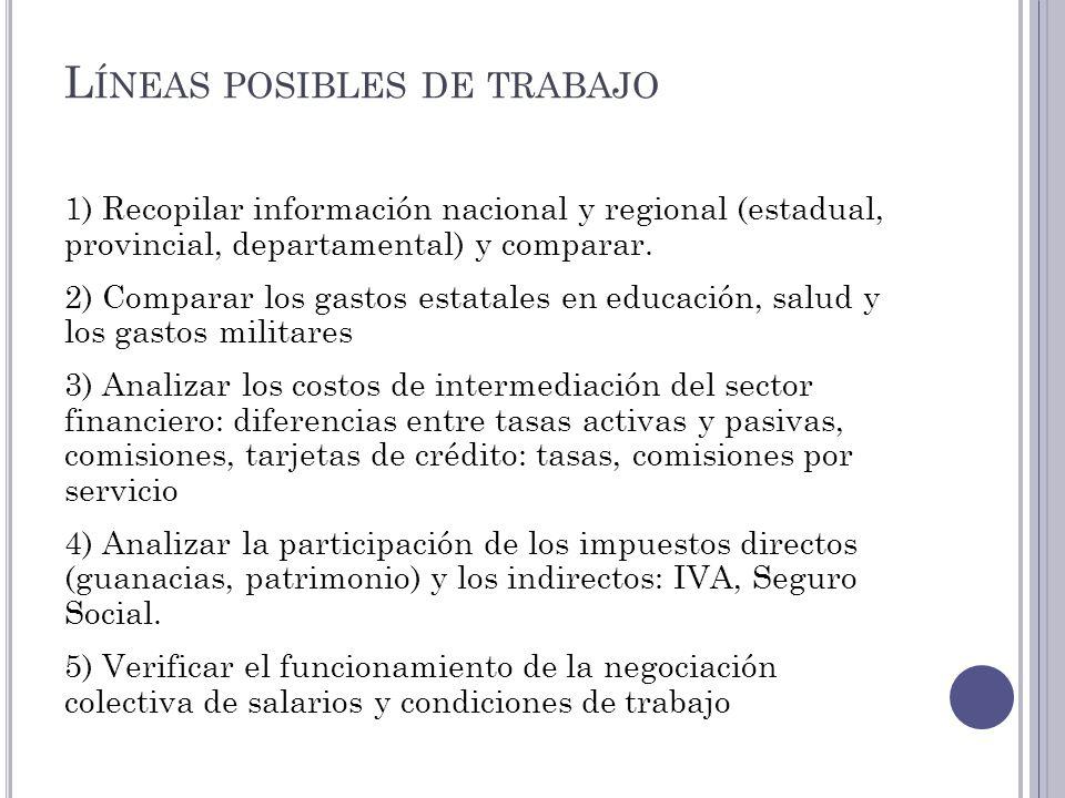 L ÍNEAS POSIBLES DE TRABAJO 1) Recopilar información nacional y regional (estadual, provincial, departamental) y comparar. 2) Comparar los gastos esta