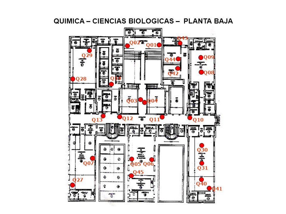 QUIMICA – CIENCIAS BIOLOGICAS – PLANTA ALTA Q17 Q18 Q19 Q20 Q21 Q22 Q37 Q24 Q26 Q25 Q32 Q33 Q34 Q35 Q23 Q36 Q38 Q39