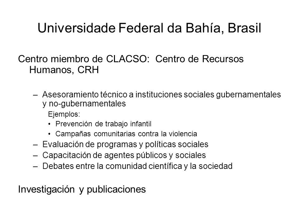 Universidade Federal da Bahía, Brasil Centro miembro de CLACSO: Centro de Recursos Humanos, CRH –Asesoramiento técnico a instituciones sociales gubern