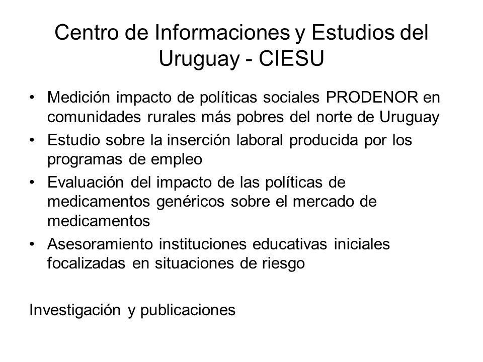 Centro de Informaciones y Estudios del Uruguay - CIESU Medición impacto de políticas sociales PRODENOR en comunidades rurales más pobres del norte de