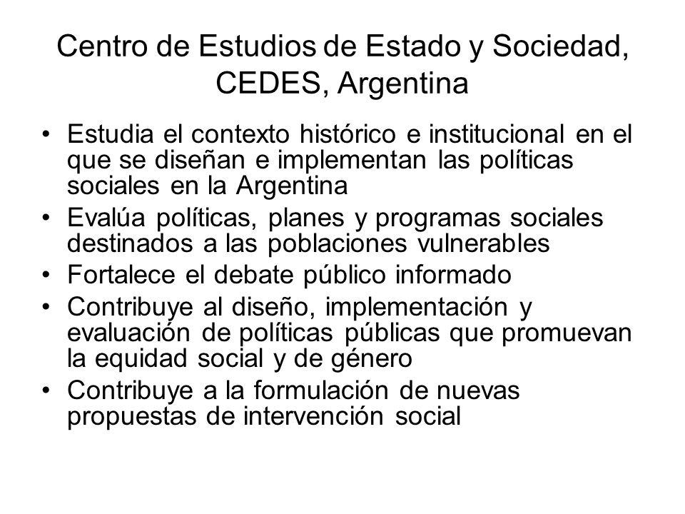 Centro de Estudios de Estado y Sociedad, CEDES, Argentina Estudia el contexto histórico e institucional en el que se diseñan e implementan las polític