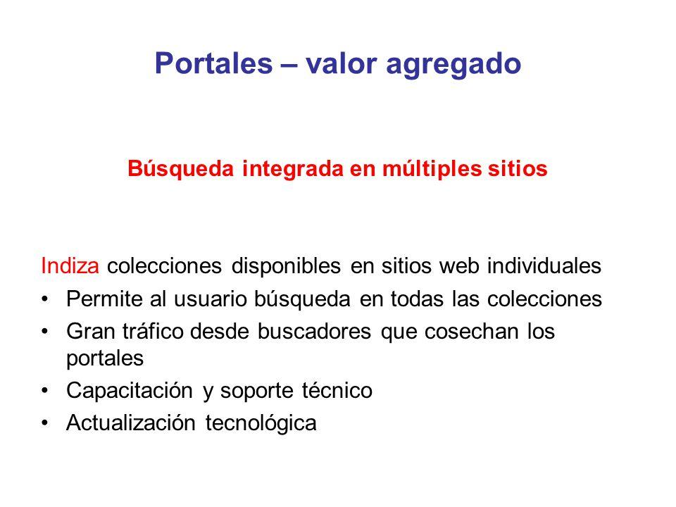 Portales – valor agregado Búsqueda integrada en múltiples sitios Indiza colecciones disponibles en sitios web individuales Permite al usuario búsqueda