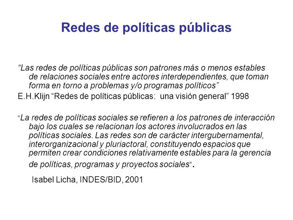 Redes de políticas públicas Las redes de políticas públicas son patrones más o menos estables de relaciones sociales entre actores interdependientes,