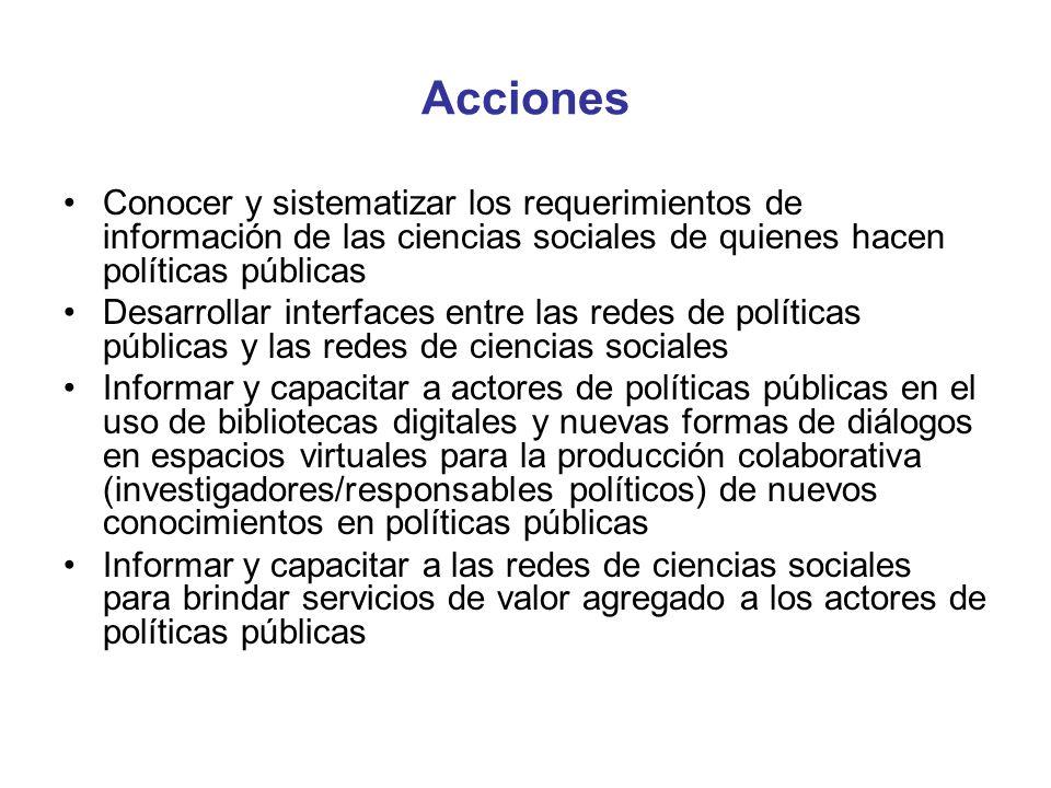 Acciones Conocer y sistematizar los requerimientos de información de las ciencias sociales de quienes hacen políticas públicas Desarrollar interfaces