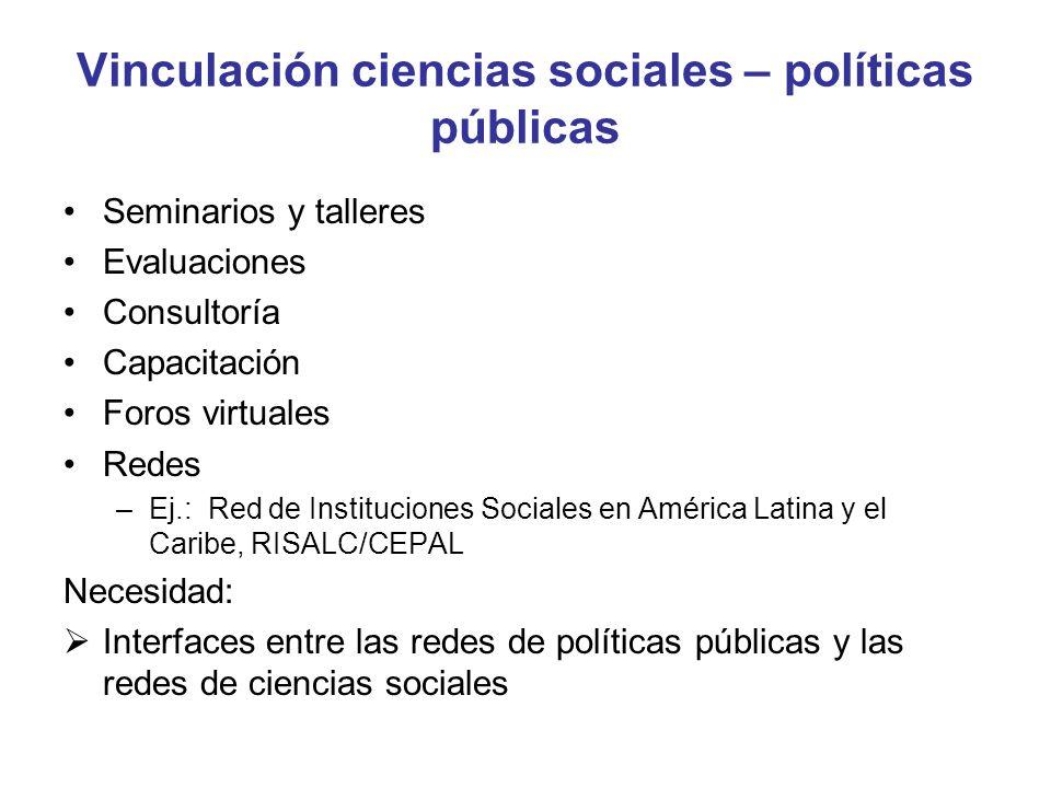 Vinculación ciencias sociales – políticas públicas Seminarios y talleres Evaluaciones Consultoría Capacitación Foros virtuales Redes –Ej.: Red de Inst