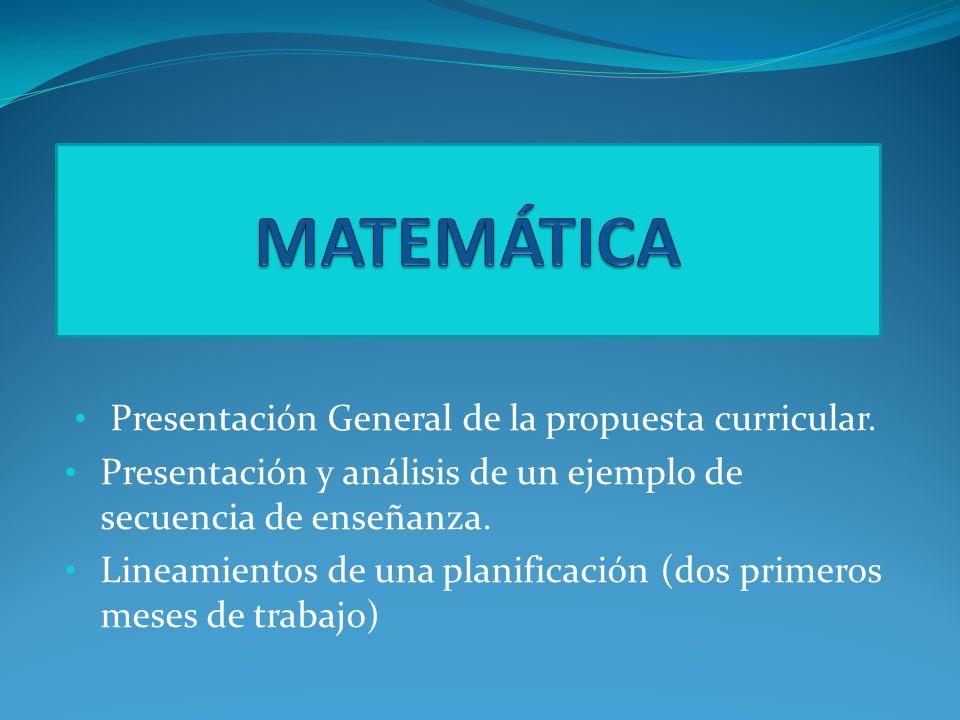Presentación General de la propuesta curricular.