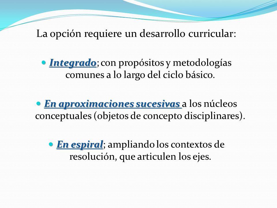 La opción requiere un desarrollo curricular: Integrado Integrado; con propósitos y metodologías comunes a lo largo del ciclo básico.