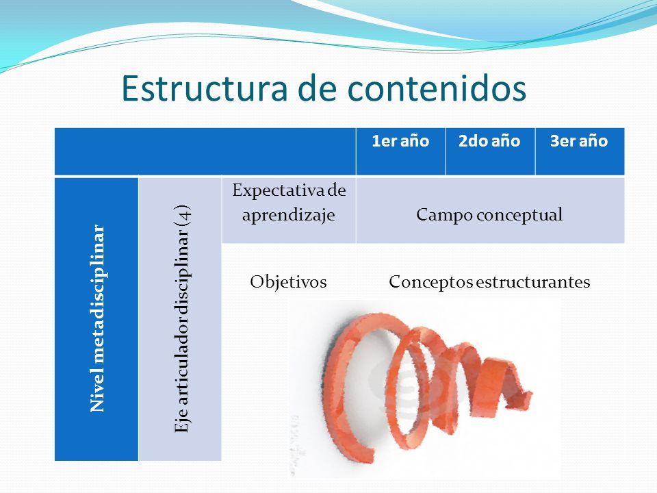 Estructura de contenidos 1er año2do año3er año Nivel metadisciplinar Eje articulador disciplinar (4) Expectativa de aprendizajeCampo conceptual ObjetivosConceptos estructurantes
