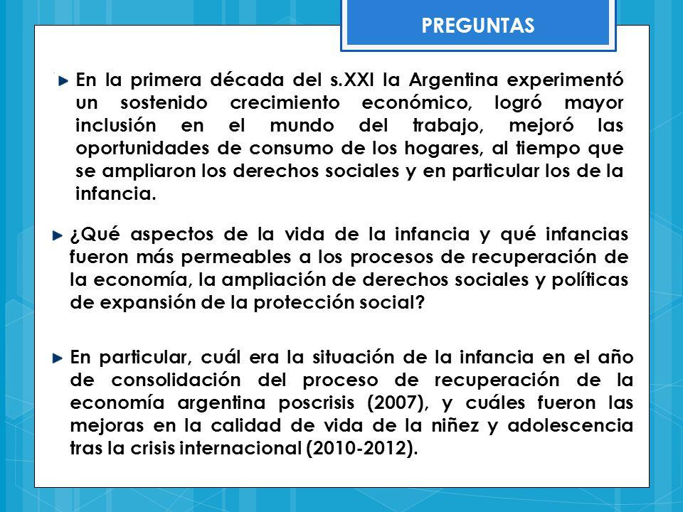 LOS DERECHOS DE LA INFANCIA EN ARGENTINA … Convención sobre los Derechos del Niño (ONU, 1989) Declaración de los Objetivos de Desarrollo para el Milenio (ONU, 2000) Ley de Protección Integral de los Derechos de Niñas, Niños y Adolescentes (Ley 26.061) Ley de Educación Nacional (Ley 26.206) Ley sobre los Centros de Desarrollo Infantil (Ley 26.233) Plan Nacional de Acción por los Derechos de Niñas, Niños y Adolescentes Plan Nacional de Prevención y Erradicación del Trabajo Infantil Creación de la Secretaria Nacional de Niñez, Adolescencia y Familia, y el Consejo Federal de Niñez, Adolescencia y Familia Sistema de Asignación Universal por Hijo para la Protección Social (1602/2009) MARCO INSTITUCIONAL