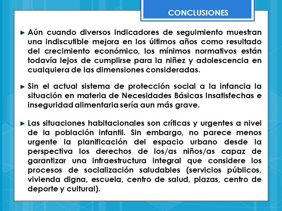 CONCLUSIONES Sin el actual sistema de protección social a la infancia la situación en materia de Necesidades Básicas Insatisfechas e inseguridad alime