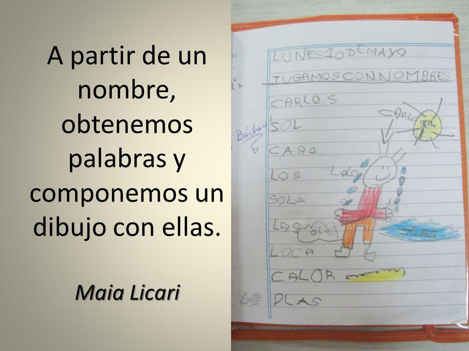 Maia Licari A partir de un nombre, obtenemos palabras y componemos un dibujo con ellas. Maia Licari