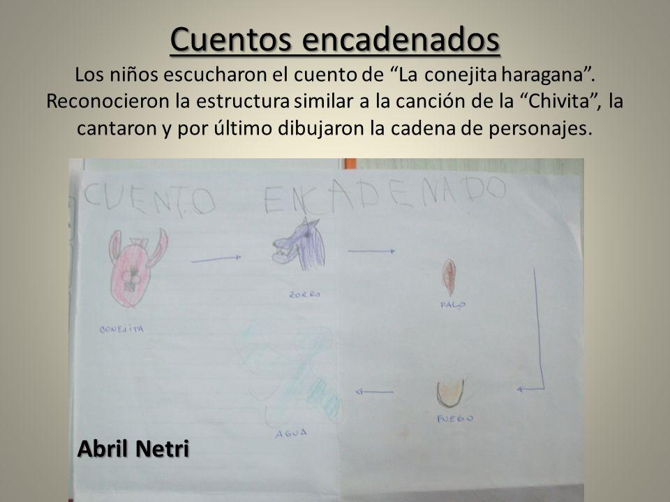 Cuentos encadenados Cuentos encadenados Los niños escucharon el cuento de La conejita haragana. Reconocieron la estructura similar a la canción de la