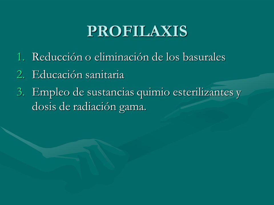 PROFILAXIS 1.Reducción o eliminación de los basurales 2.Educación sanitaria 3.Empleo de sustancias quimio esterilizantes y dosis de radiación gama.