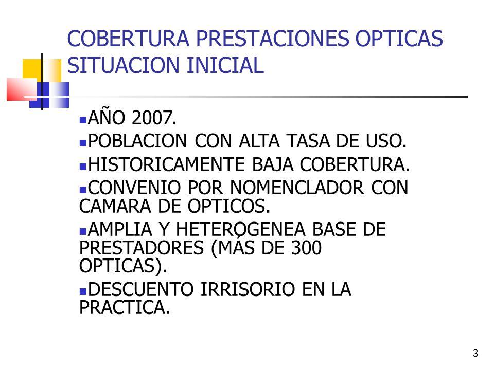 3 COBERTURA PRESTACIONES OPTICAS SITUACION INICIAL AÑO 2007.