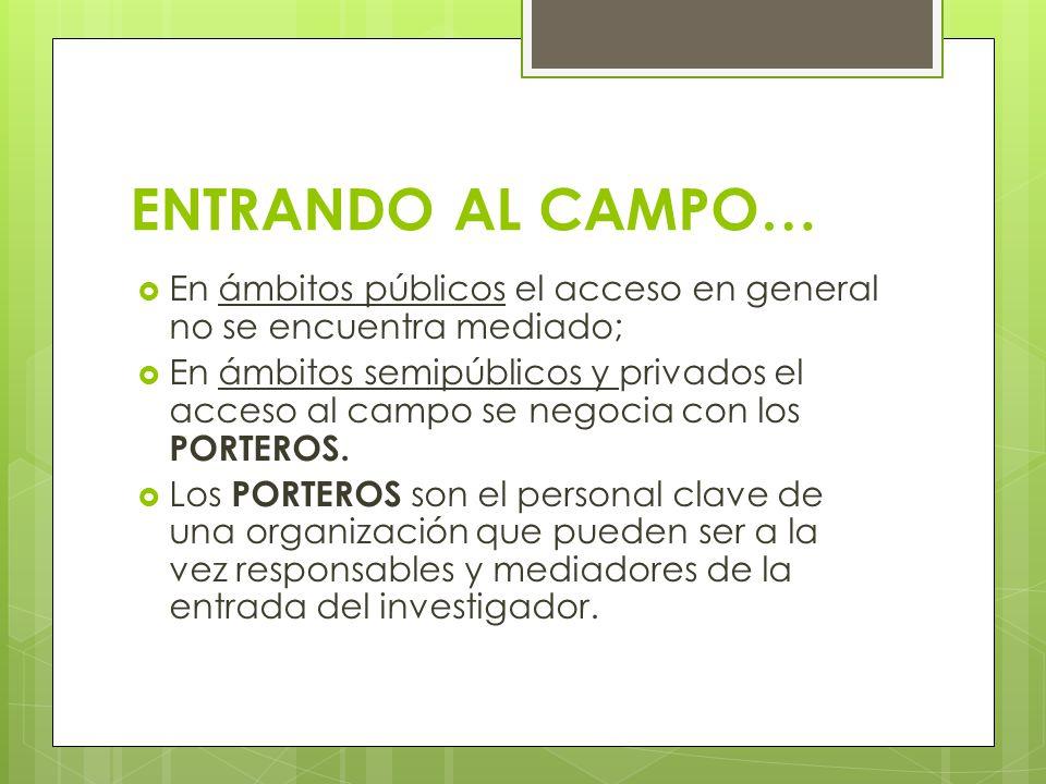 ENTRANDO AL CAMPO… En ámbitos públicos el acceso en general no se encuentra mediado; En ámbitos semipúblicos y privados el acceso al campo se negocia con los PORTEROS.