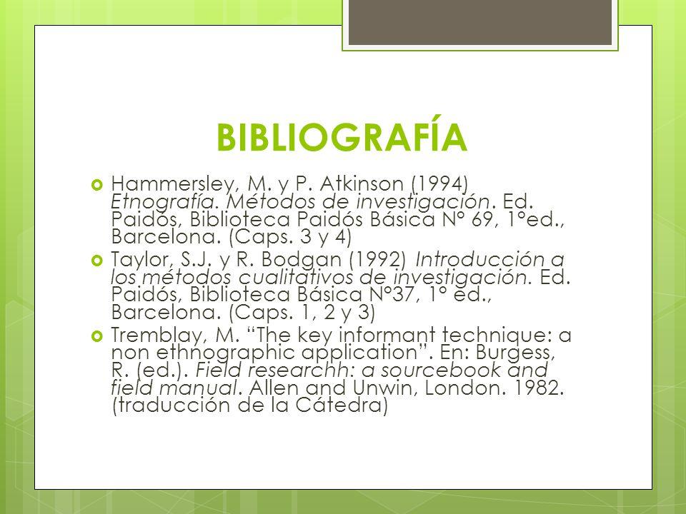 Bibliografía Bartolomé, M.A.(2003) En defensa de la etnografía.