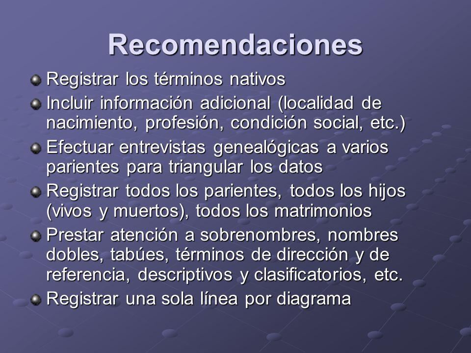 Recomendaciones Registrar los términos nativos Incluir información adicional (localidad de nacimiento, profesión, condición social, etc.) Efectuar ent