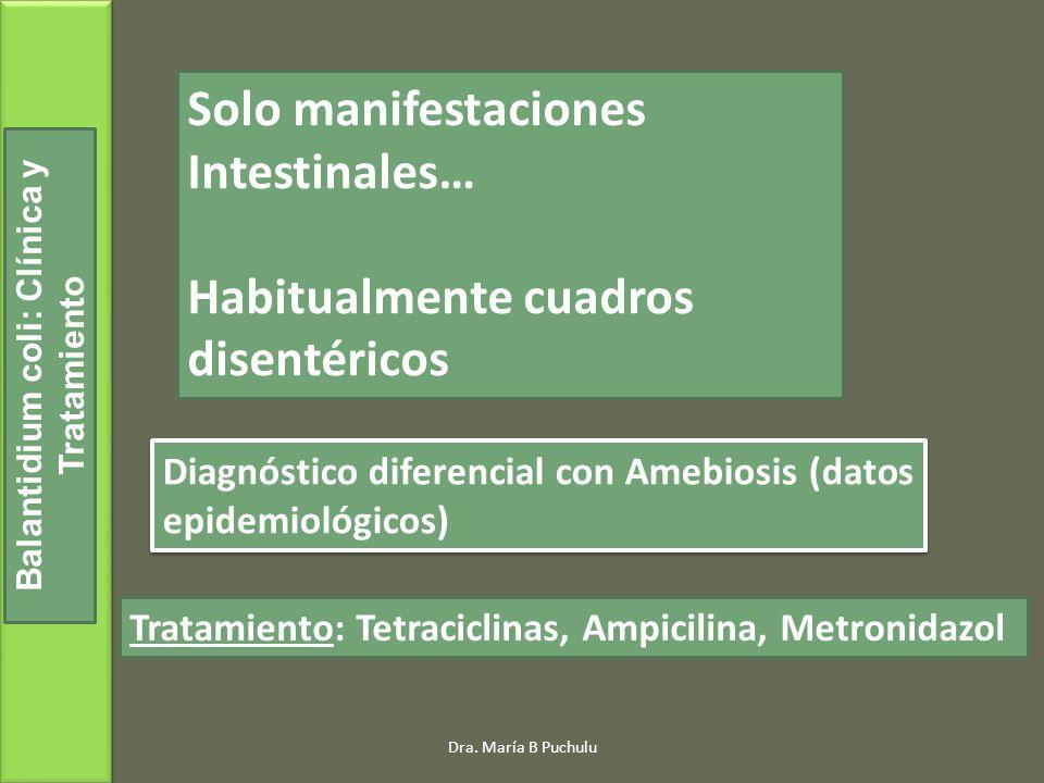 Balantidium coli: Clínica y Tratamiento Solo manifestaciones Intestinales… Habitualmente cuadros disentéricos Diagnóstico diferencial con Amebiosis (datos epidemiológicos) Tratamiento: Tetraciclinas, Ampicilina, Metronidazol Dra.