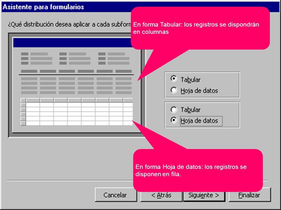 En forma Tabular: los registros se dispondrán en columnas En forma Hoja de datos: los registros se disponen en fila.