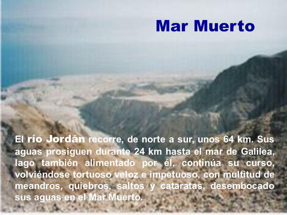 El río Jordán recorre, de norte a sur, unos 64 km. Sus aguas prosiguen durante 24 km hasta el mar de Galilea, lago también alimentado por él, continúa
