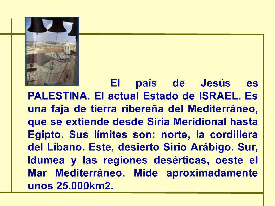 El país de Jesús es PALESTINA. El actual Estado de ISRAEL. Es una faja de tierra ribereña del Mediterráneo, que se extiende desde Siria Meridional has