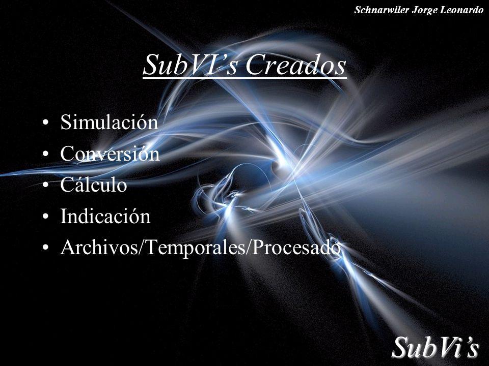 Schnarwiler Jorge Leonardo SubVIs Creados Simulación Conversión Cálculo Indicación Archivos/Temporales/Procesado SubVis