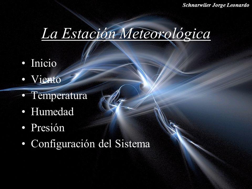 Schnarwiler Jorge Leonardo La Estación Meteorológica Inicio Viento Temperatura Humedad Presión Configuración del Sistema